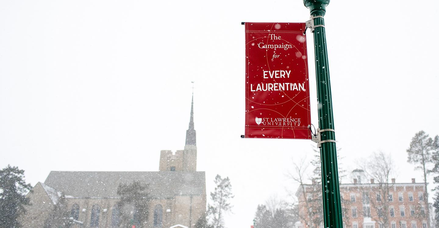Every Laurentian Light Post and Brush Quad view of the Chapel and Richardson on a snowy day