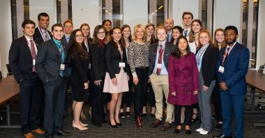 Martha MacCallum '86, P'23, center, host of The Story on Fox News, with St. Lawrence students participating in the career networking program SLU Connect - NYC.